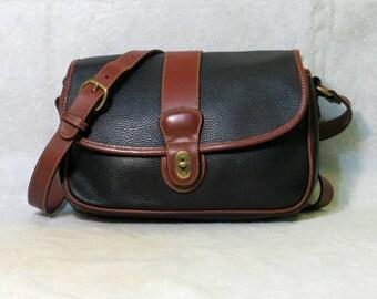 Vintage Coach Two Tone Leather Crossbody Handbag Black Pebbled Leather Brass Hardware Sheridan Glenwood Flap Messenger Bag Made in USA