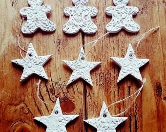 8 handmade clay christmas decorations