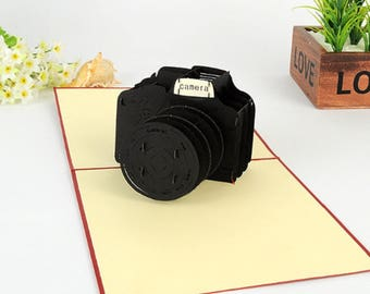 Handmade 3D pop up popup card black camera birthday father's day Easter wedding anniversary graduation journalist friend gift for him her