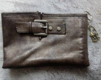 Pocket rock effect faux leather distressed look