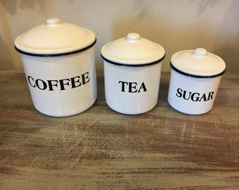 Rustic Tin Canister Set