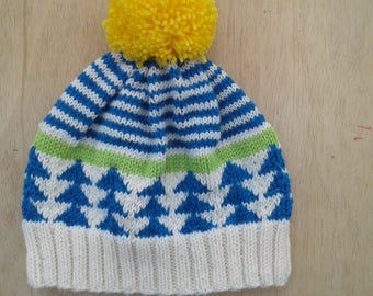 Blue, green, yellow wool Cap