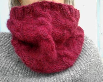 Christmas Red Ruby women cable Snood
