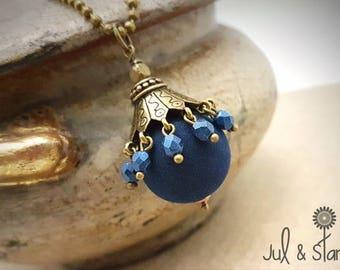 Navy Blue Velvet /Carrousel bronze metal Bead Necklace
