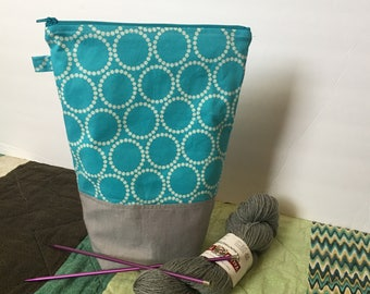 Straight Needle Knitting Project Bag, Zipper Bag, Tall Project Bag