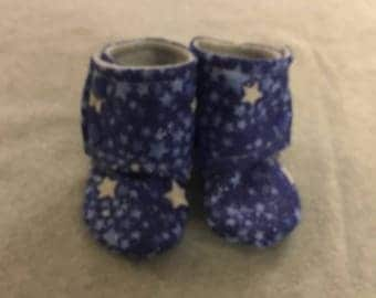 Blue Stars Stay On Baby Booties
