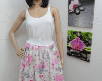 Cotton floral print pink and grey skirt