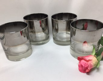 Queens Lusterware Silver Ombre Fade Double Rocks Glasses - set of 4