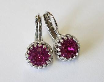 Fuschia Swarovski Crystal Crown Earrings- Silver