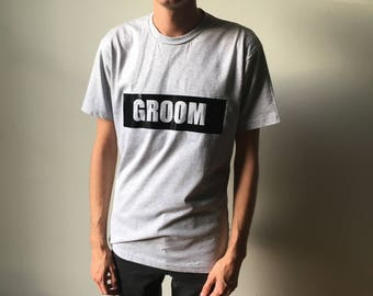 GROOM TEE - Heather Grey with Black Vinyl - More Colors Available