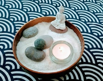 Small round miniature Zen garden table Zen garden meditation mindfulness arrange your own way white Buddha Zen ambient tealight UK