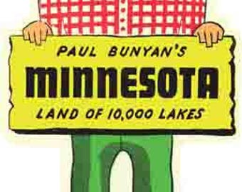 Vintage Style Paul Bunyan Minnesota    1950's    Travel Decal sticker