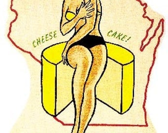 """Vintage Style pin-up girl """"cheese cake""""  WI Wisconsin Travel Decal sticker"""