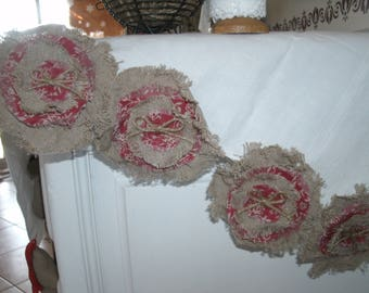 4 flowers in natural linen and cotton flowers