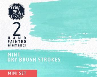 Watercolor clipart brushstrokes, MINT brush strokes clipart, brushtrokes, MINT paint,hand painted,dry brush strokes,stationery, light green