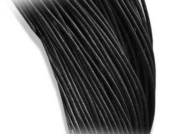 Lace black round leather cord Ø 1.8 mm x 1 m