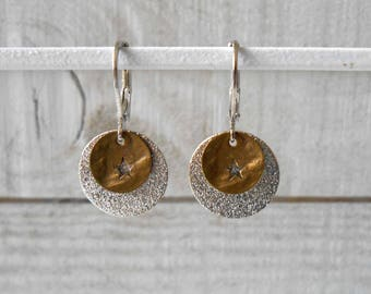 Bronze/silver mix, glittery lozenge and sequin earrings