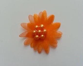 double fleur  voile  orange   30mm
