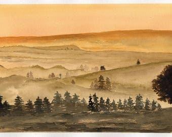 Original misty watercolor landscape