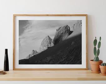 Giant Rocks Print, Mountain Wall Art, Clouds, Black And White Photo, Minimalist Art, Spanish Mountain, Wild Nature