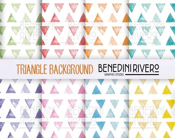 Watercolor pattern triangles background colorful - (15 x 15 inch - 300 dpi) Printable papers, sweet, cute, decoupage, scrapbooking, pack