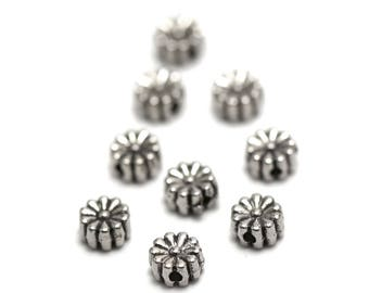 "10 ""flower multi-petales"" beads, 6 x 3 mm, silver, has 077"