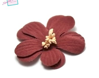 4 flowers in faux leather (suede) 45 X 10 mm, Red