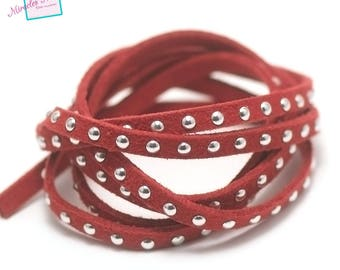 "1 meter suede ""studded Silver"", 5 x 2 mm, Red"