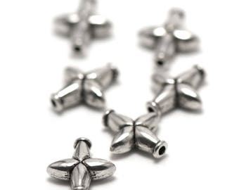 "10 pearls ""Star flower"" has 13 x 12 x 4 mm, silver, 023"