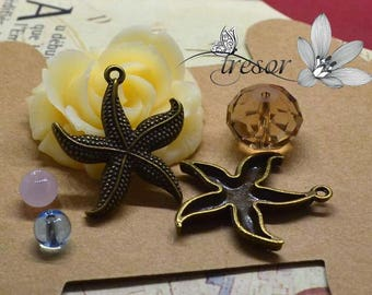 set of 8 QDW295 pendant, Bronze, starfish, travel