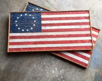 Rustic lath American Flag