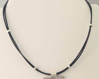 Midnight blue leather necklace with pendant