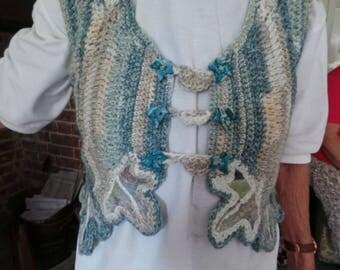 Crochet and Merino Handmade Felt Waistcoat