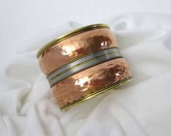 """Stunning Vintage Copper Bracelet with Brass,  Gold & Silver Tones, fits up to 7"""" wrist"""