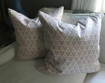 Pair of Quadrille Purple Volpi Pillows