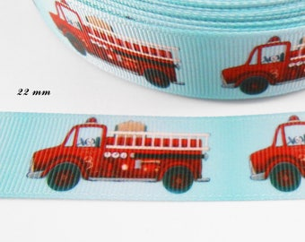 Firetruck 22 mm light blue grosgrain Ribbon sold by 50 cm