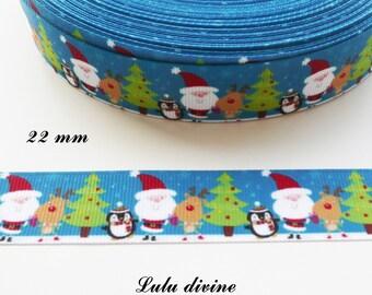 Ribbon grosgrain background landscape Santa Claus reindeer Christmas tree Penguin 22 mm sold by 50 cm