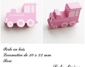 30 x 22 mm wood bead, Pearl flat Train / Locomotive: pink