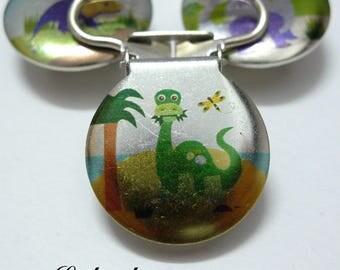 1 strap clip, attach pacifier & blanket background Island & Palm tree, dinosaur: Brontosaurus Green