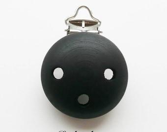 Clip / buckle, wooden pacifier Clip: black