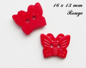 Set of 5 Butterfly buttons-16 x 13 mm 2 holes: Red