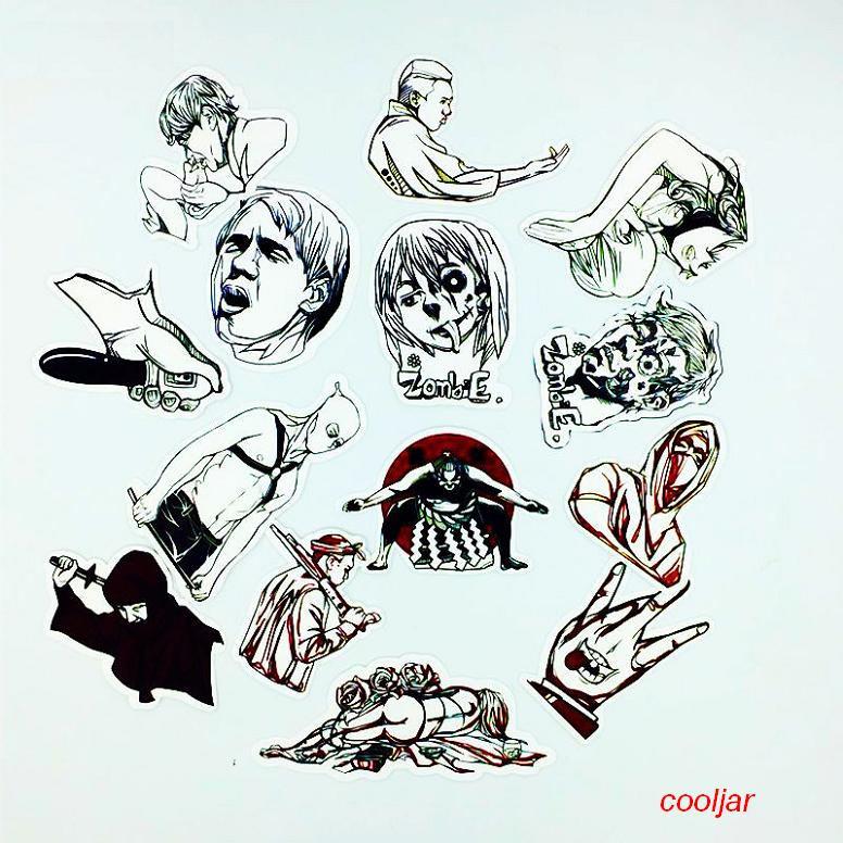 PCS Black White Waterproof Sticker Luggage JDM Doodle Cool - Cool vinyl decals