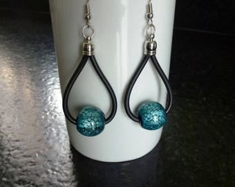 Earrings with large beads cracked turquoise sequined resin mounted on buna cord black cord