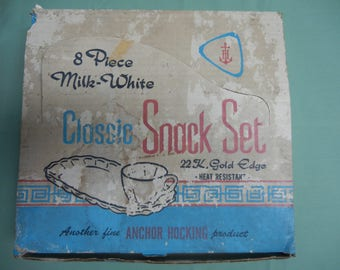 Eight Piece Milk-White Classic Snack Set Twenty-Two K. Gold Edge in Original Box