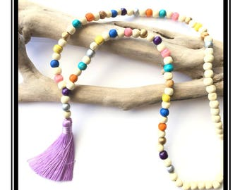 Purple tassel Mala necklace & multicolored / boho Natural zen stone wood beads pink tassel necklace