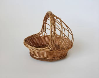 "Small 8"" Wicker Baby Doll Cradle Decor Basket"