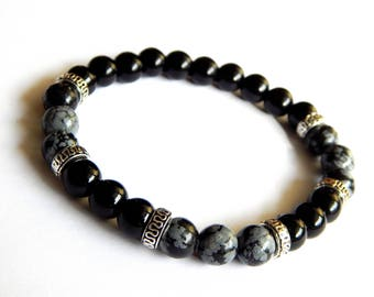 "Mens black tourmaline gemstones ""Protection"" bracelet and snowflake Obsidian"