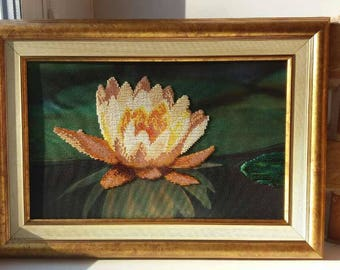 Painting canvas water lily glass bead