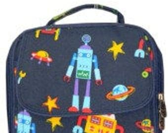 Robots Lunch Bag Tote Navy.  Personalized with name, monogram, etc.
