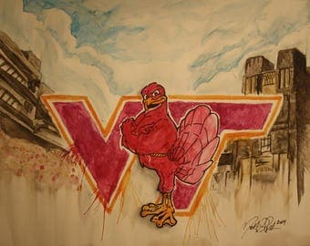 Virginia Tech Original Watercolor Painting